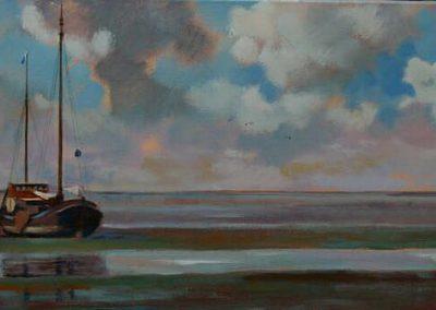 Boot aan de grond schilderij