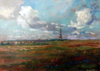 Een schilderij van een landschap met een dorp en vuurtoren