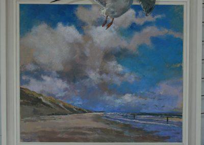 Een schilderij van een zeemeeuw