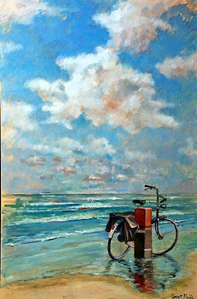 Fiets op een strand