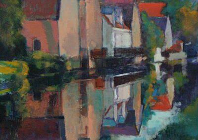 Huizen aan kanaal schilderij