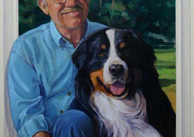 Portret van een man met hond in natuur