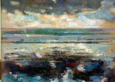 Reflectie van wolken in zee