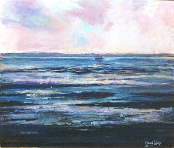 Schilderij van diep blauwe golven met een boot