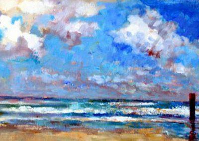 Schilderij van een strand