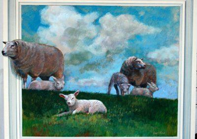 Schilderij van schapen in een weiland