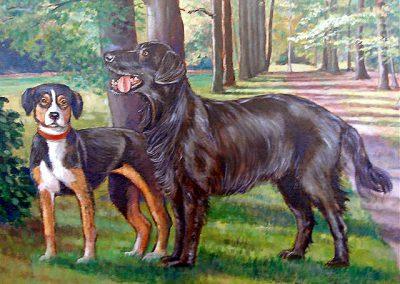 Schilderij van twee honden op een wandeling