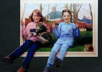 Schilderij van twee kinderen op schommels met twee katten
