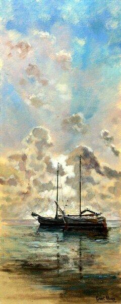Twee zeilboten op water schilderij