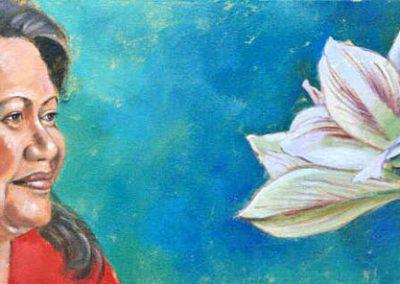 Vrouw met twee bloemen portret