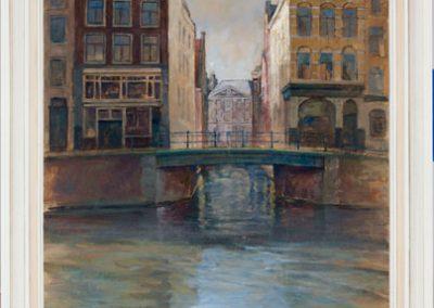 schilderij stadsgezicht amsterdam gracht